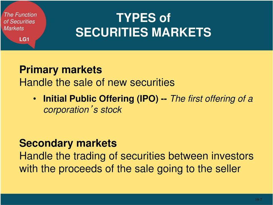 first offering of a corporation s stock Secondary markets Handle the trading of