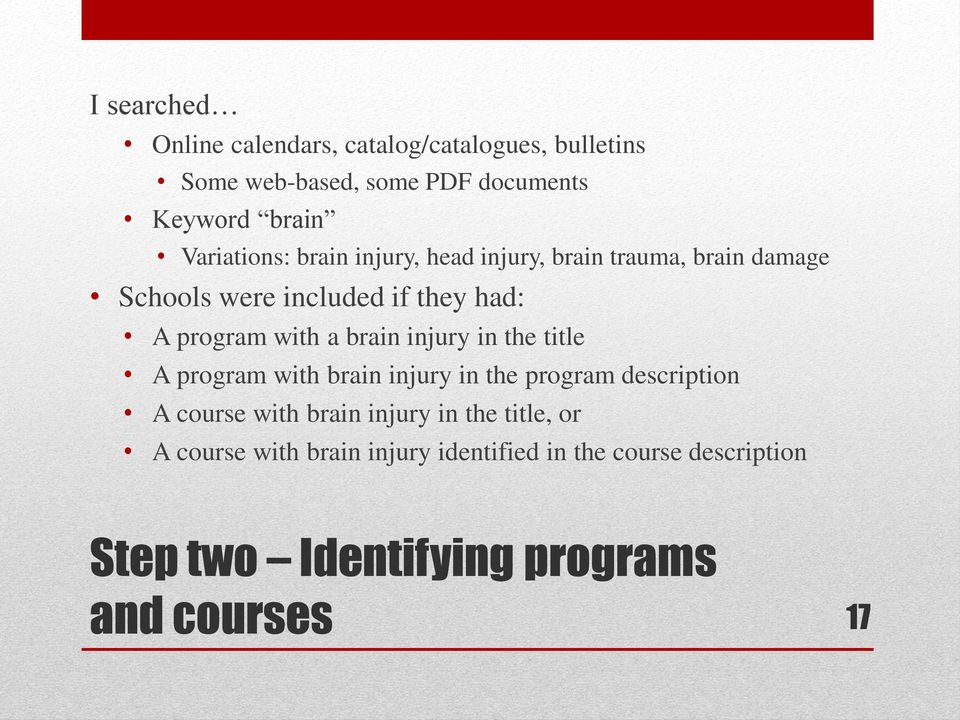 with a brain injury in the title A program with brain injury in the program description A course with brain injury