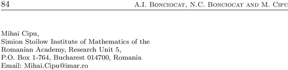 Mathematics of the Romanian Academy, Research Unit