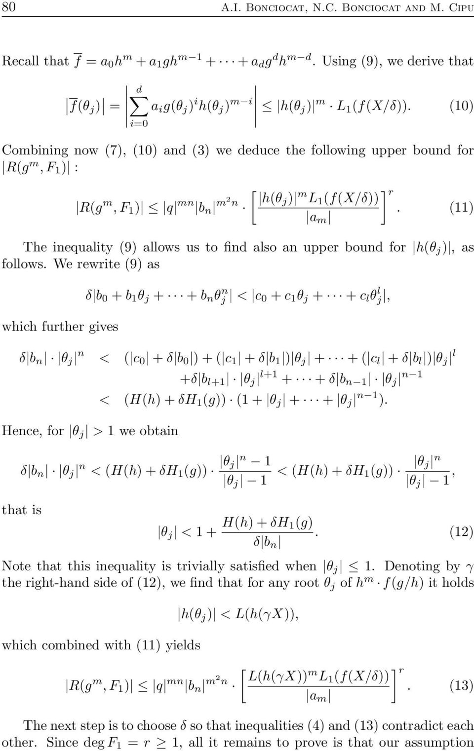 11) a m The inequality 9) allows us to find also an upper bound for hθ j ), as follows.