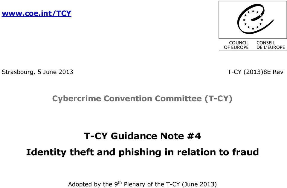 Cybercrime Convention Committee (T-CY) T-CY Guidance