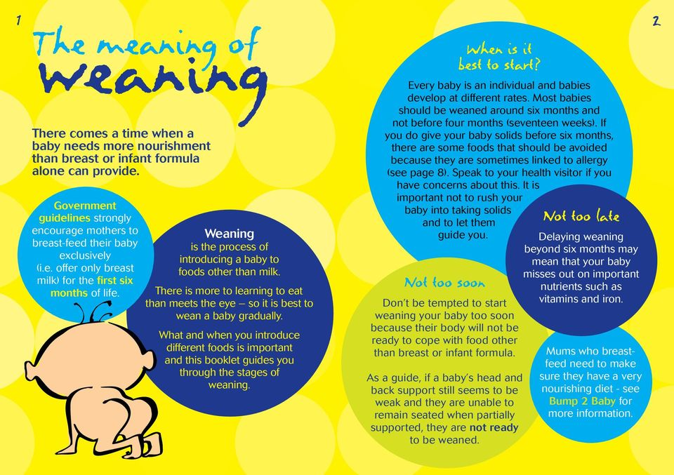 Weaning is the process of introducing a baby to foods other than milk. There is more to learning to eat than meets the eye so it is best to wean a baby gradually.