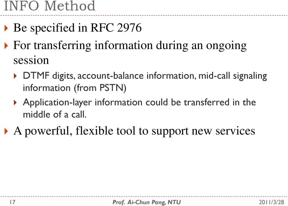 information (from PSTN) Application-layer information could be transferred
