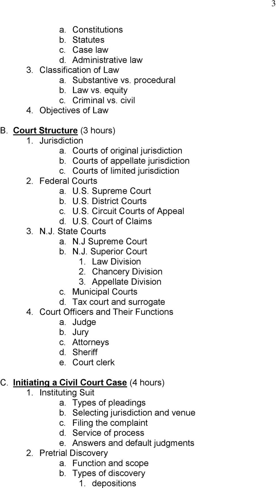 U.S. Circuit Courts of Appeal d. U.S. Court of Claims 3. N.J. State Courts a. N.J Supreme Court b. N.J. Superior Court 1. Law Division 2. Chancery Division 3. Appellate Division c. Municipal Courts d.