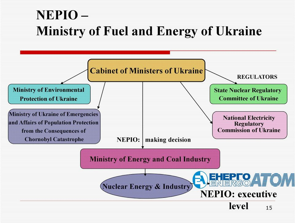 of Chornobyl Catastrophe NEPIO: making decision State Nuclear Regulatory Committee of Ukraine National Electricity