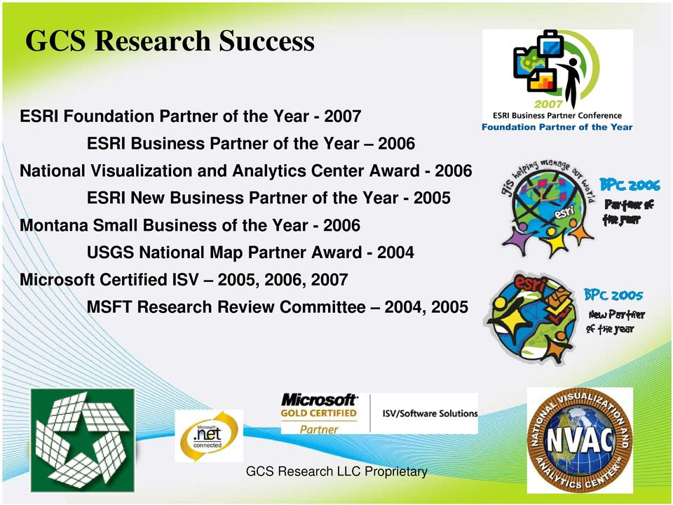 Partner of the Year - 2005 Montana Small Business of the Year - 2006 USGS National Map