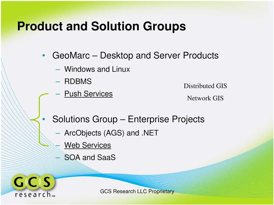 GIS Push Services Network GIS Solutions Group
