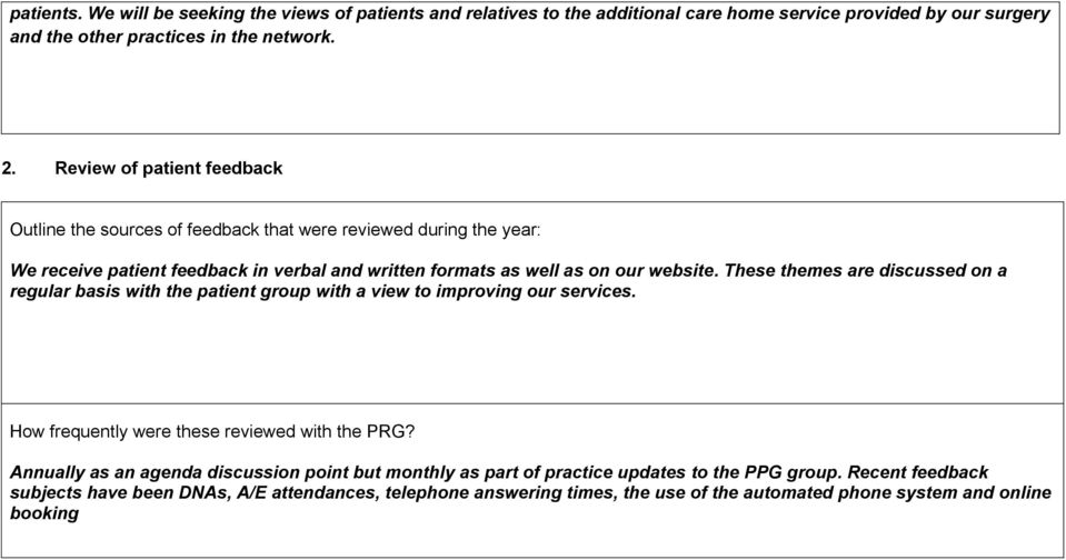 These themes are discussed on a regular basis with the patient group with a view to improving our services. How frequently were these reviewed with the PRG?