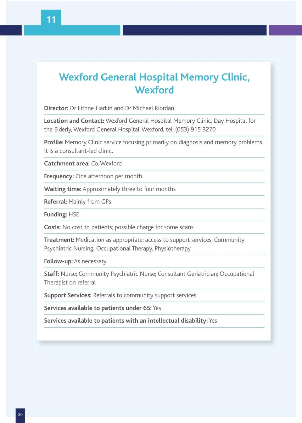 Wexford Frequency: One afternoon per month Waiting time: Approximately three to four months Referral: Mainly from GPs Funding: HSE Costs: No cost to patients; possible charge for some scans