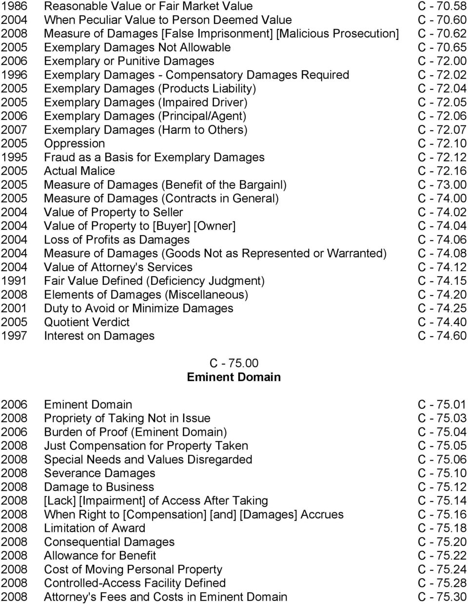 02 2005 Exemplary Damages (Products Liability) C - 72.04 2005 Exemplary Damages (Impaired Driver) C - 72.05 2006 Exemplary Damages (Principal/Agent) C - 72.