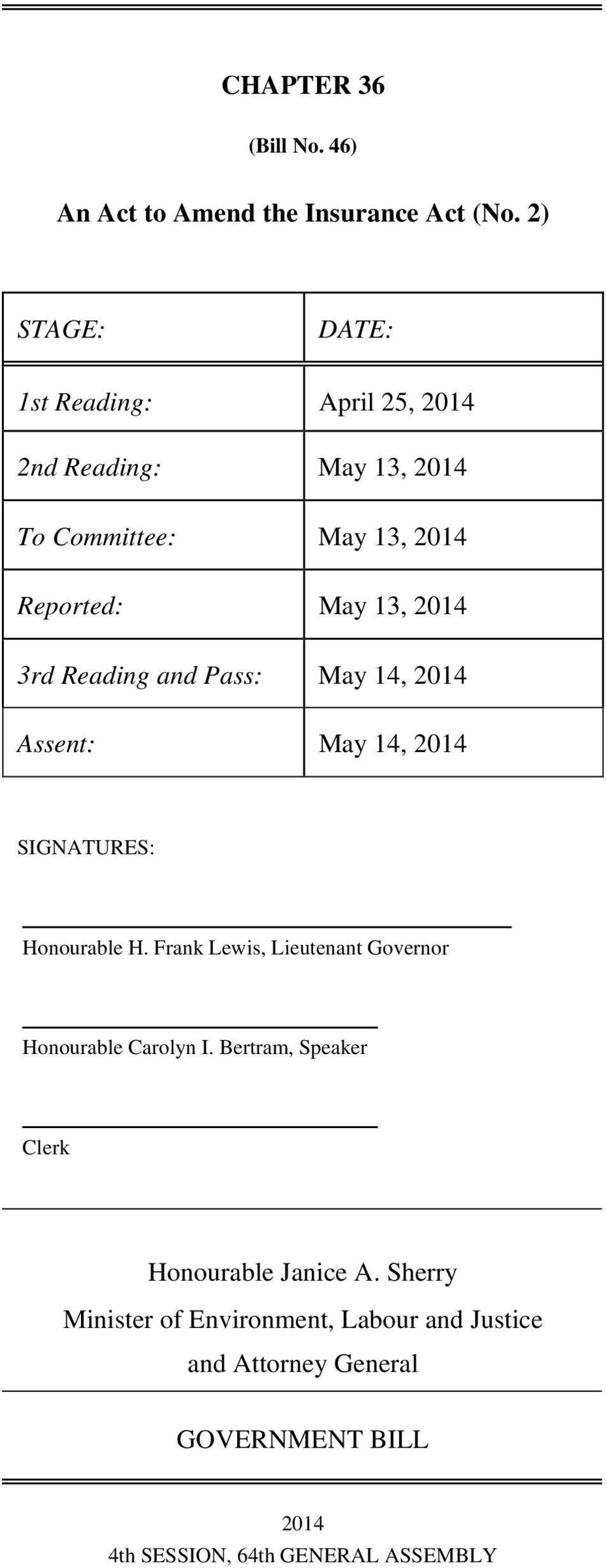 3rd Reading and Pass: May 14, 2014 Assent: May 14, 2014 SIGNATURES: Honourable H.