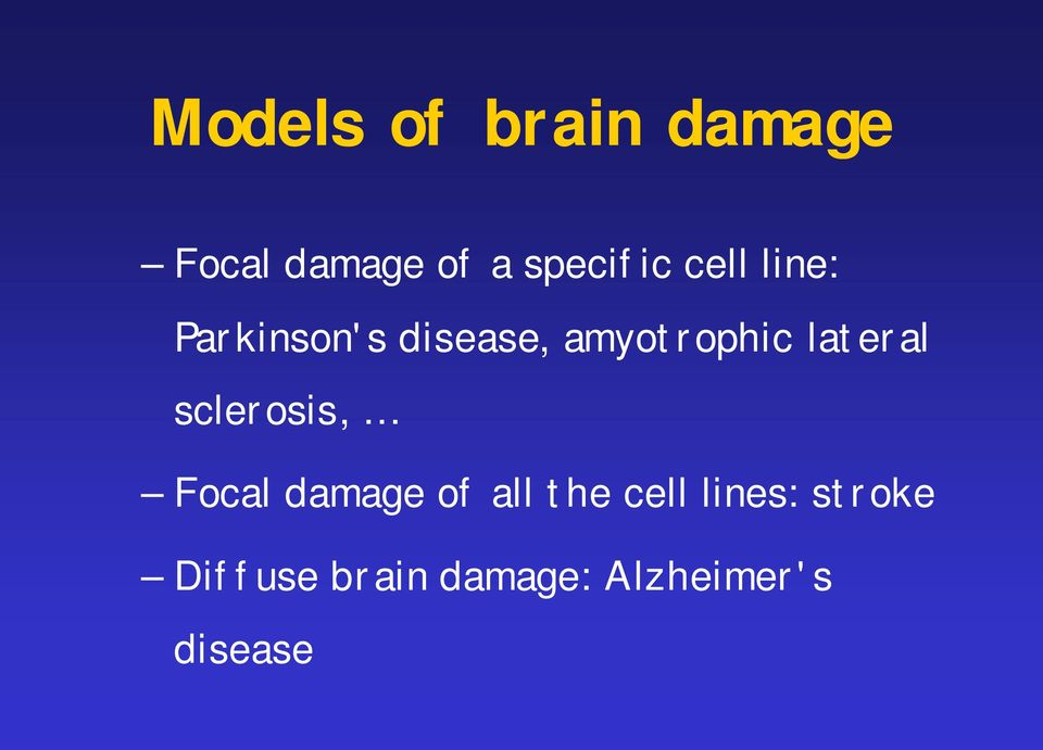 lateral sclerosis, Focal damage of all the cell
