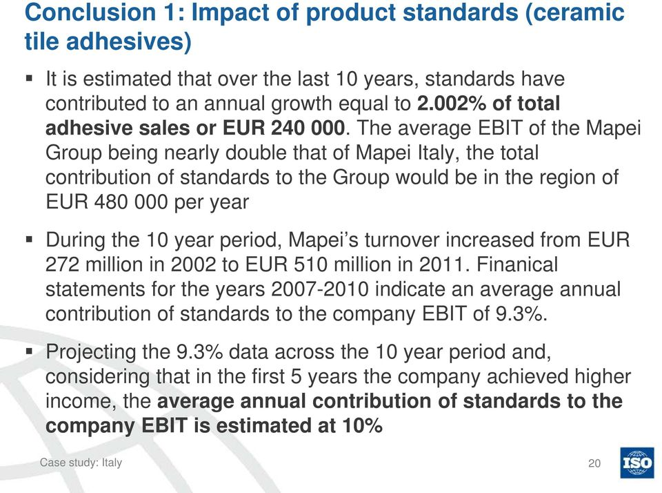 The average EBIT of the Mapei Group being nearly double that of Mapei Italy, the total contribution of standards to the Group would be in the region of EUR 480 000 per year During the 10 year period,
