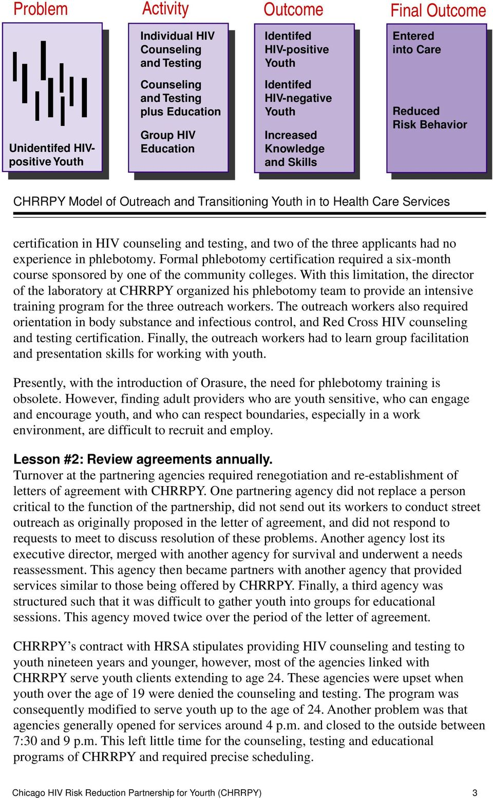 HIV counseling and testing, and two of the three applicants had no experience in phlebotomy. Formal phlebotomy certification required a six-month course sponsored by one of the community colleges.