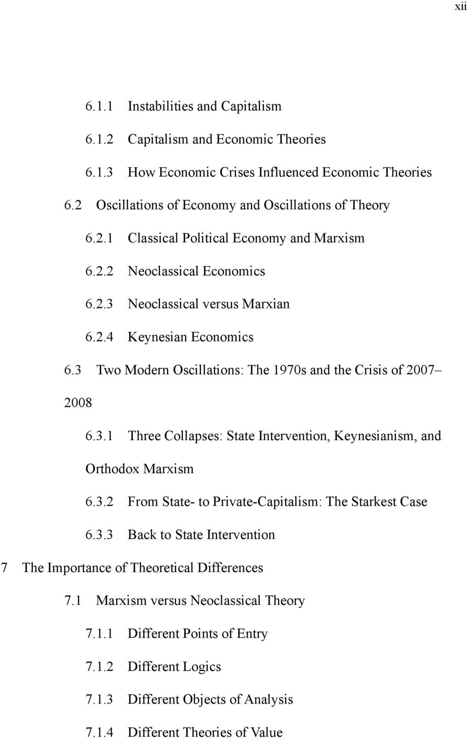 3.2 From State- to Private-Capitalism: The Starkest Case 6.3.3 Back to State Intervention 7 The Importance of Theoretical Differences 7.1 Marxism versus Neoclassical Theory 7.1.1 Different Points of Entry 7.
