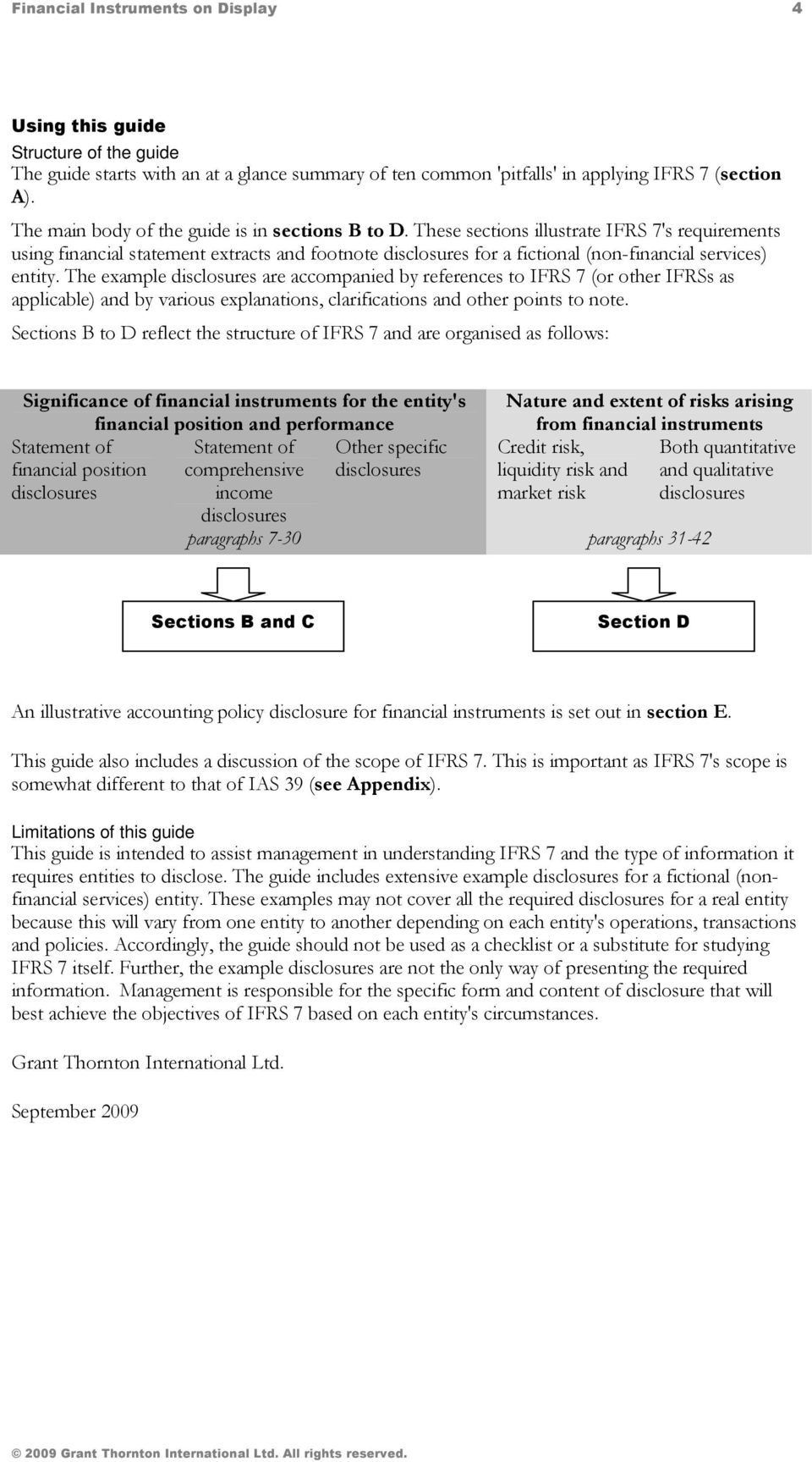 These sections illustrate IFRS 7's requirements using financial statement extracts and footnote disclosures for a fictional (non-financial services) entity.