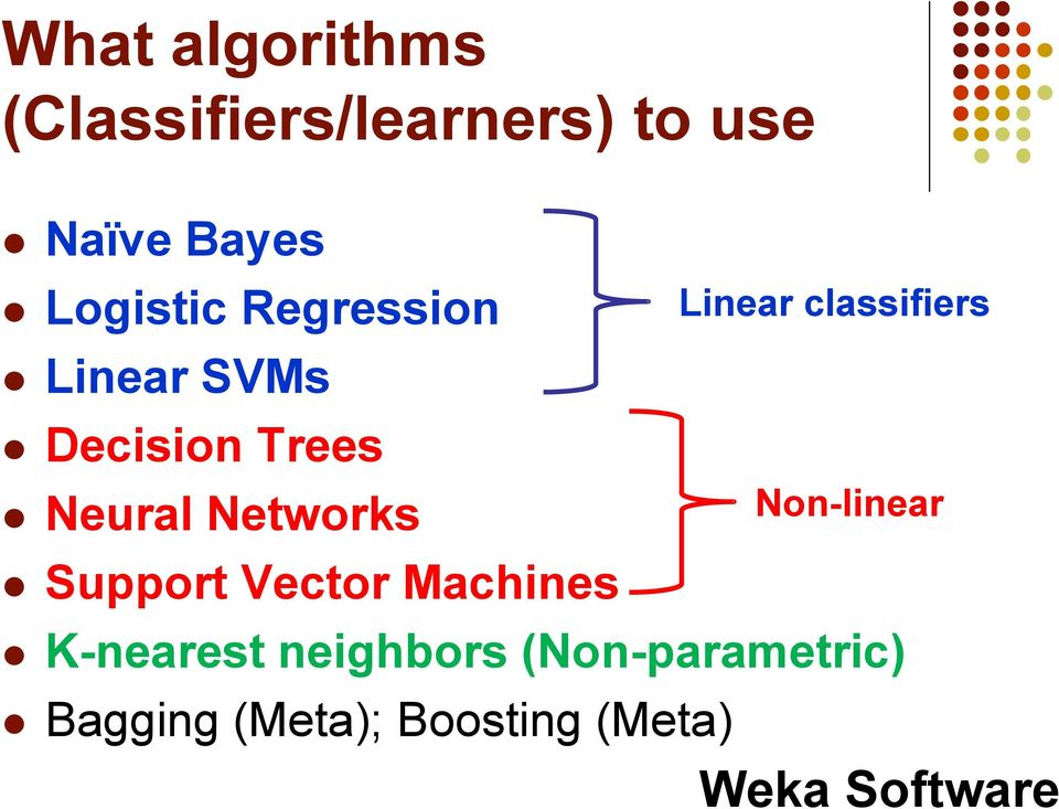 Support Vector Machines Linear classifiers Non-linear K-nearest