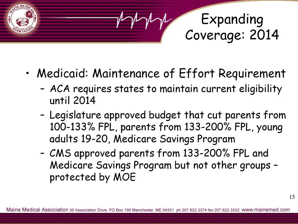 100-133% FPL, parents from 133-200% FPL, young adults 19-20, Medicare Savings Program CMS