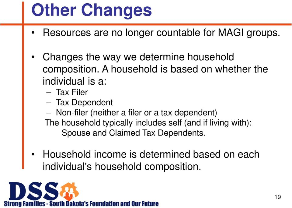 A household is based on whether the individual is a: Tax Filer Tax Dependent Non-filer (neither a filer