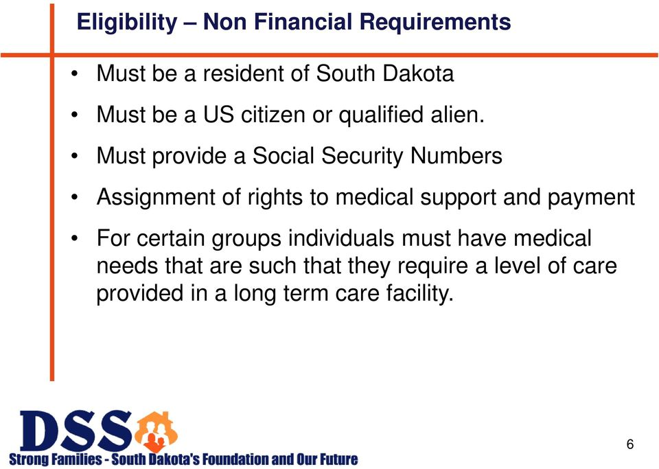 Must provide a Social Security Numbers Assignment of rights to medical support and