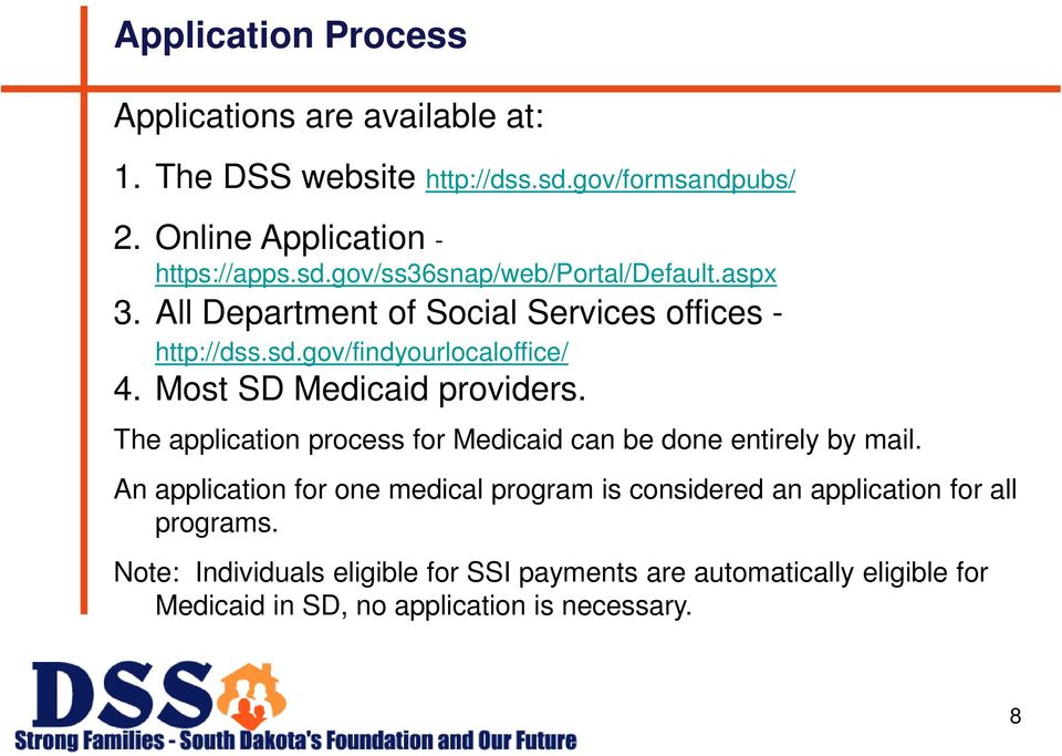 The application process for Medicaid can be done entirely by mail.
