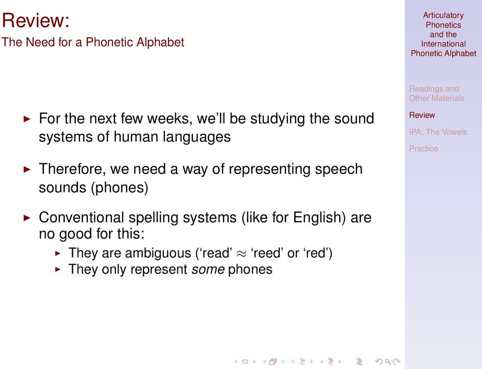 sounds (phones) Conventional spelling systems (like for English) are no