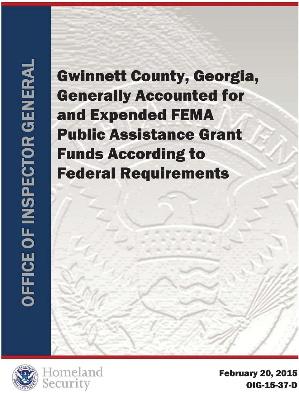 Public Assistance Grant Funds