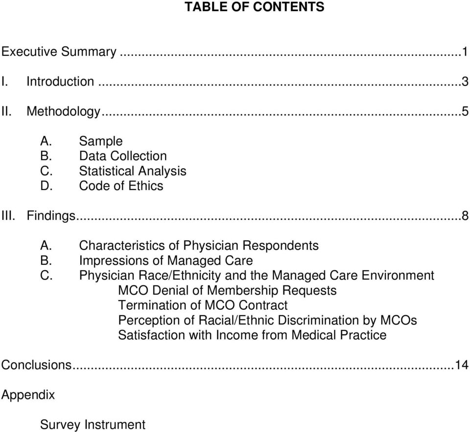 Impressions of Managed Care C.