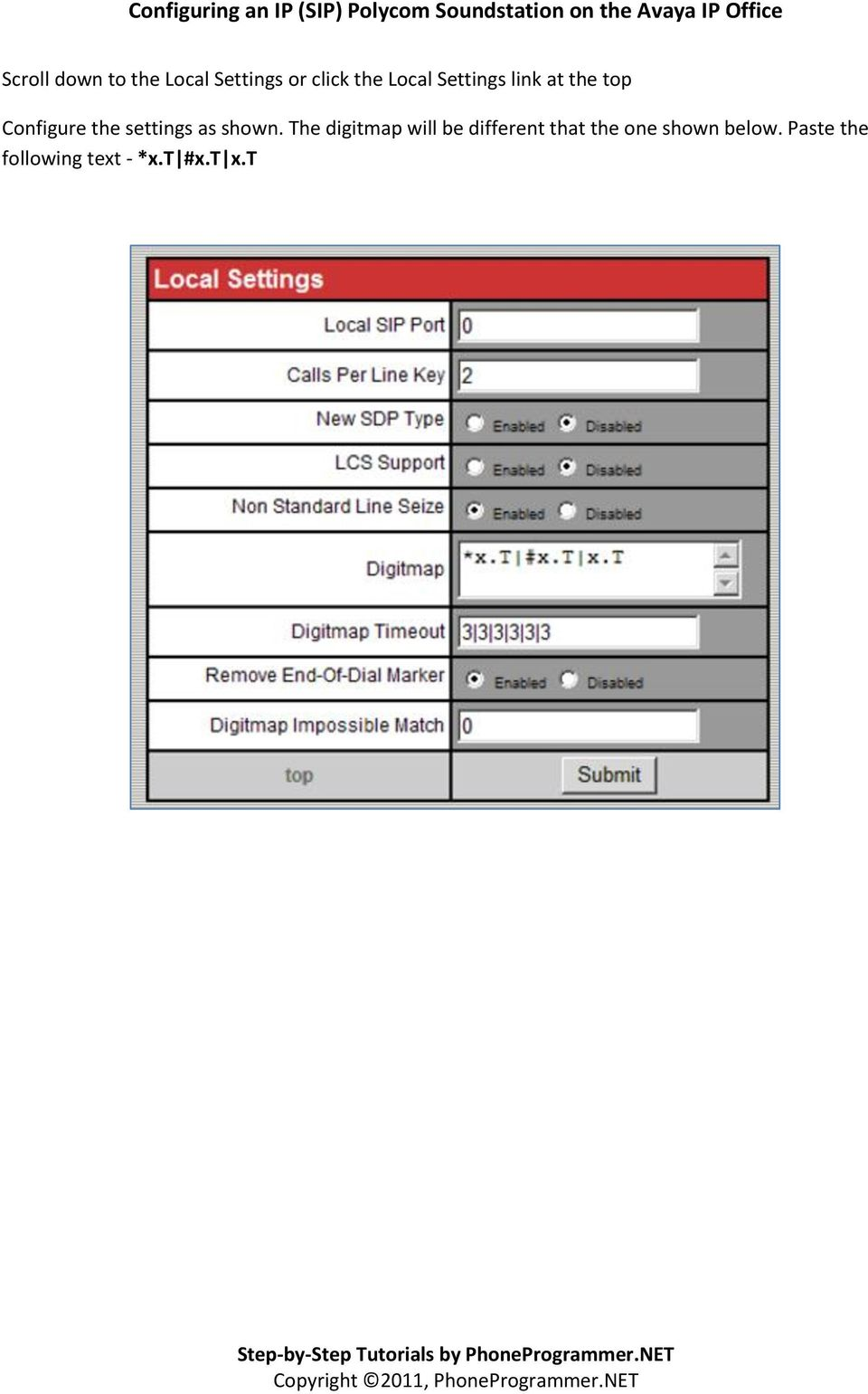 settings as shown.