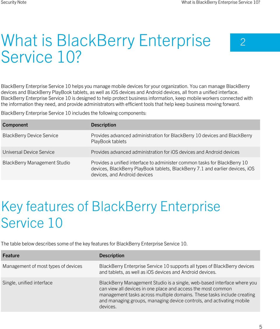 BlackBerry Enterprise Service 10 is designed to help protect business information, keep mobile workers connected with the information they need, and provide administrators with efficient tools that