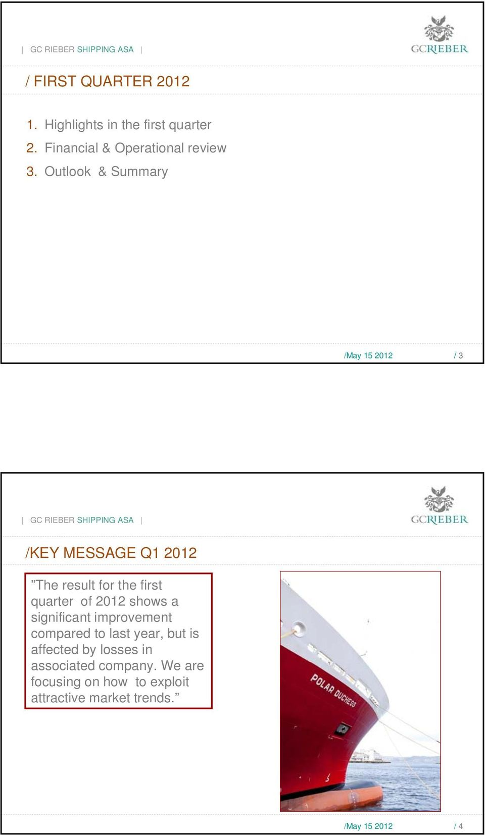 Outlook & Summary / 3 /KEY MESSAGE Q1 212 The result for the first quarter of 212