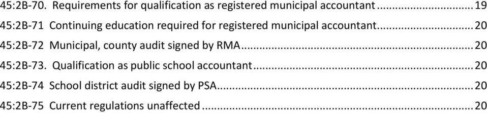 .. 20 45:2B-72 Municipal, county audit signed by RMA... 20 45:2B-73.