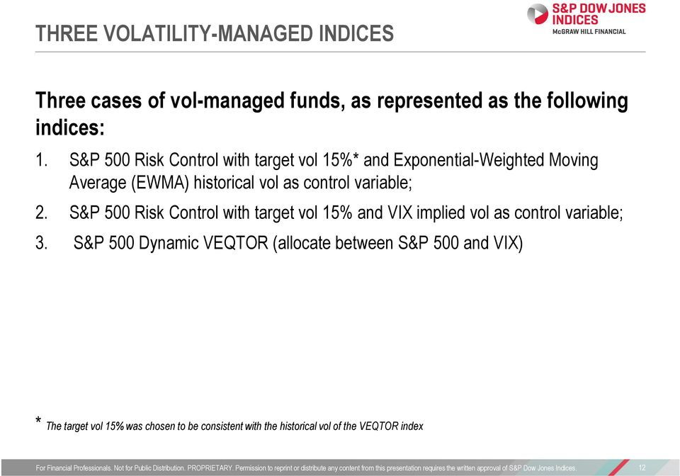 variable; 2. S&P 500 Risk Control with target vol 15% and VIX implied vol as control variable; 3.
