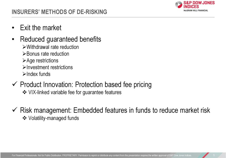 Product Innovation: Protection based fee pricing VIX-linked variable fee for guarantee