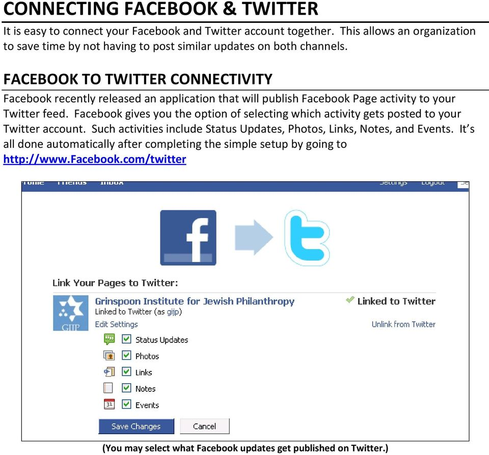 FACEBOOK TO TWITTER CONNECTIVITY Facebook recently released an application that will publish Facebook Page activity to your Twitter feed.