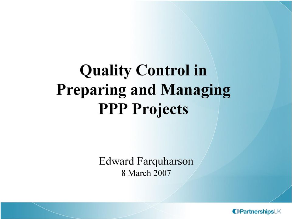 Managing PPP Projects
