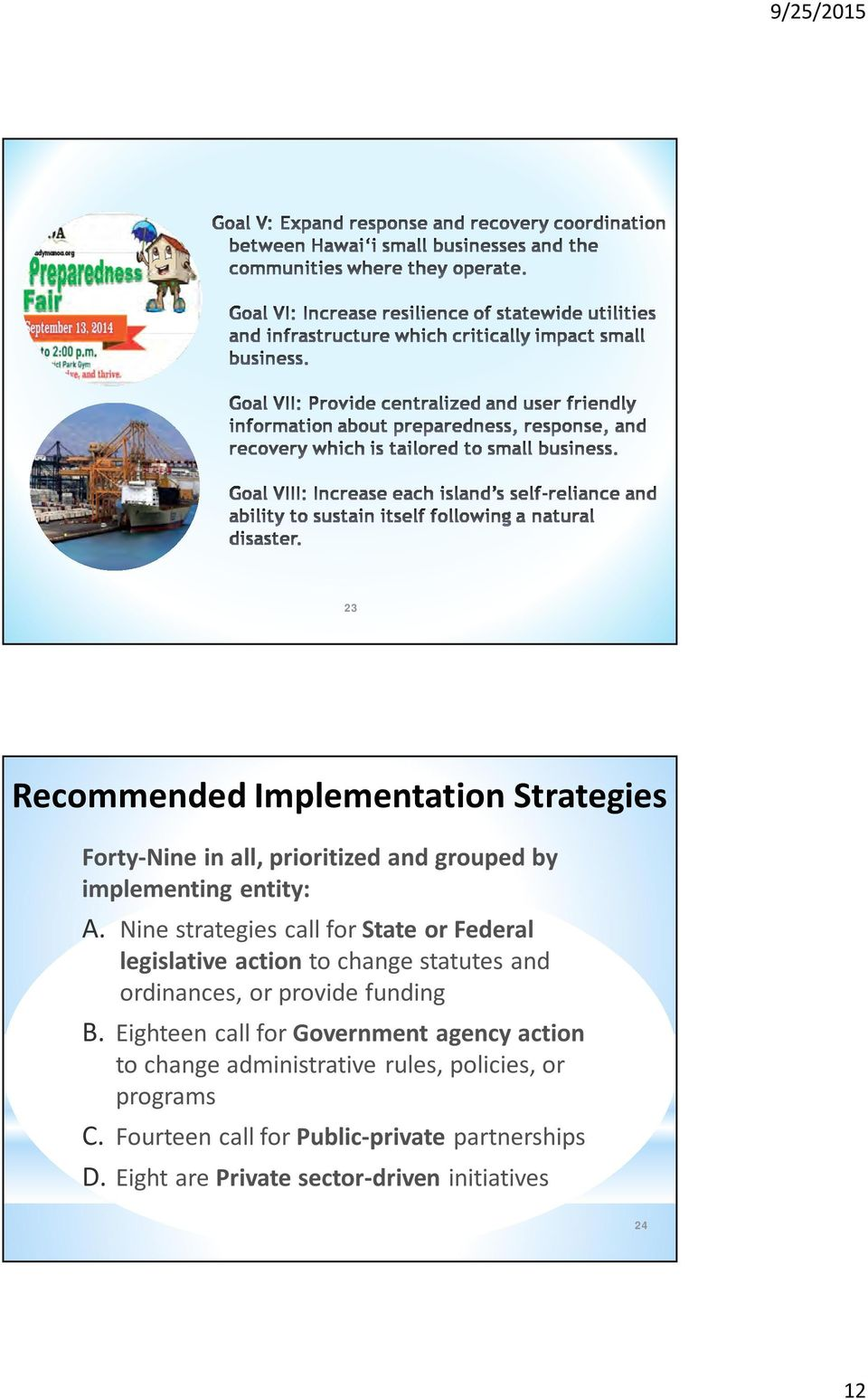 Nine strategies call for State or Federal legislative action to change statutes and ordinances, or provide