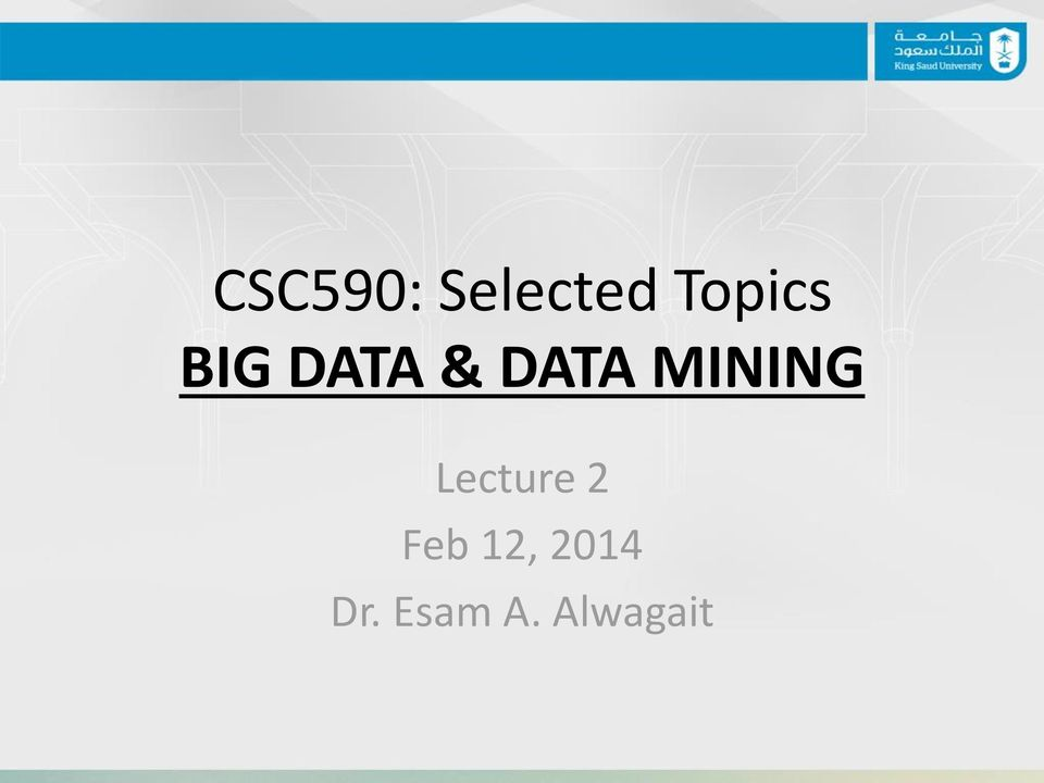 MINING Lecture 2 Feb