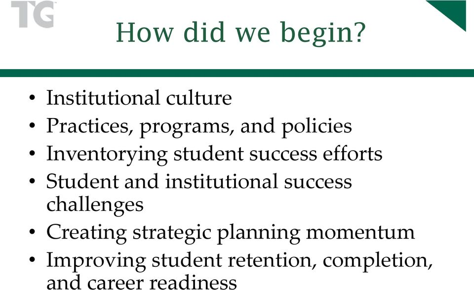 Inventorying student success efforts Student and institutional