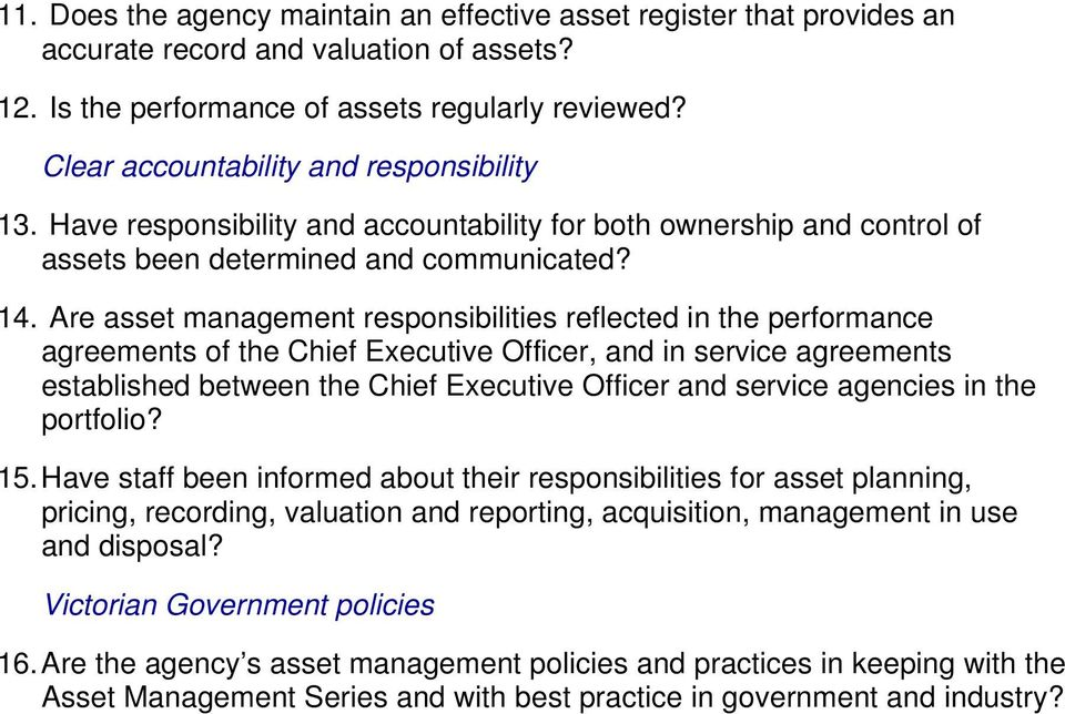 Are asset management responsibilities reflected in the performance agreements of the Chief Executive Officer, and in service agreements established between the Chief Executive Officer and service