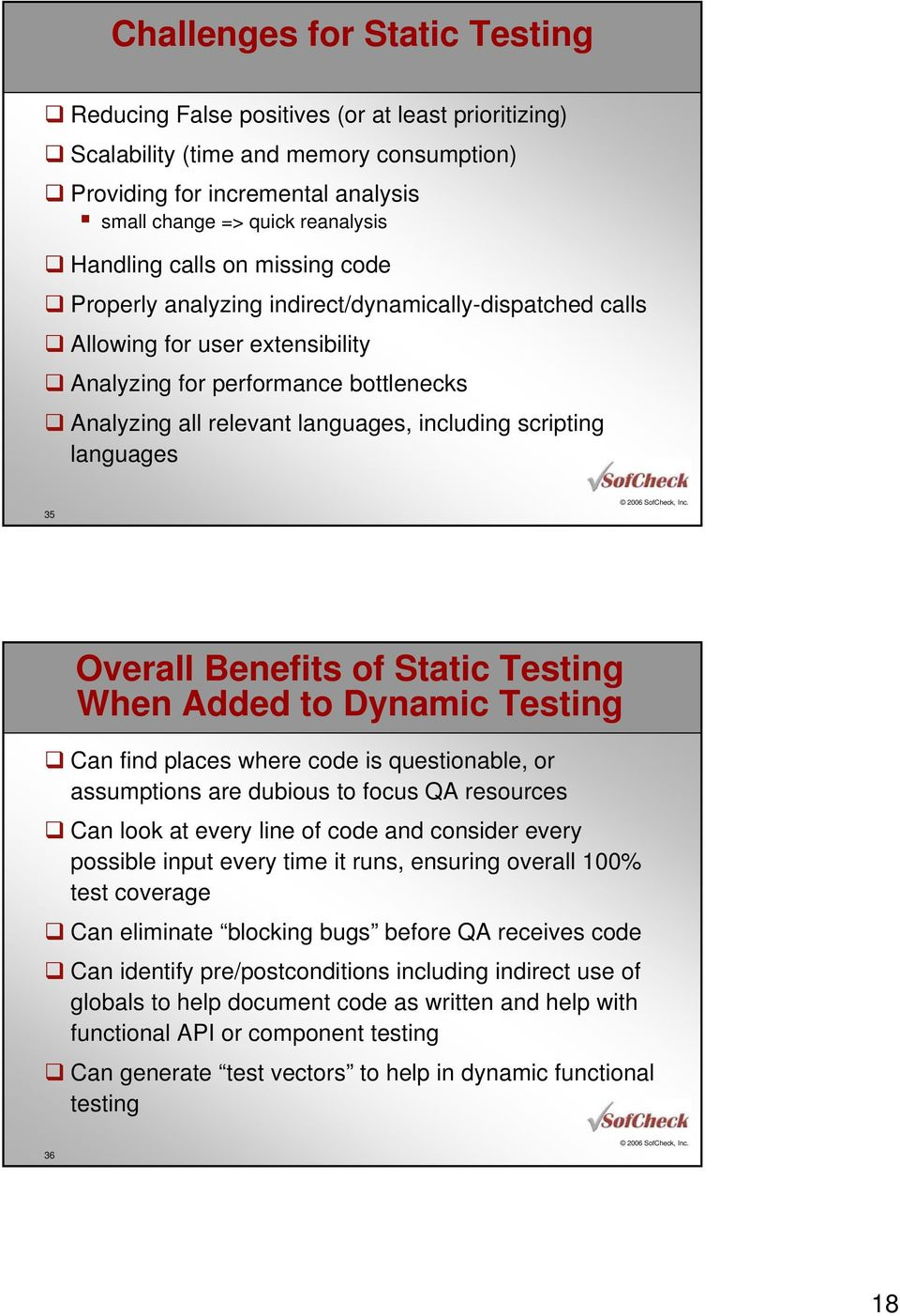 including scripting languages 35 Overall Benefits of Static Testing When Added to Dynamic Testing Can find places where code is questionable, or assumptions are dubious to focus QA resources Can look
