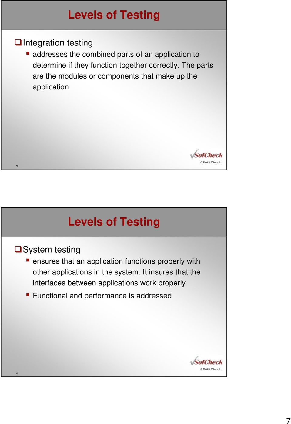 The parts are the modules or components that make up the application 13 Levels of Testing System testing