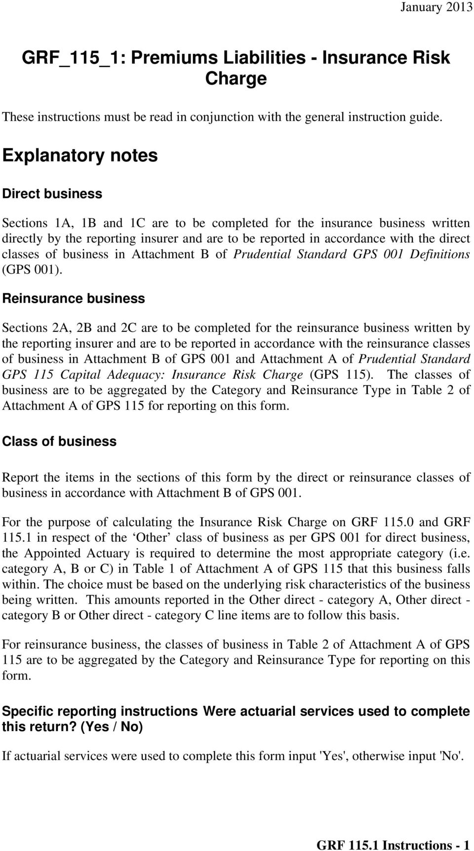 classes of business in Attachment B of Prudential Standard GPS 001 Definitions (GPS 001).