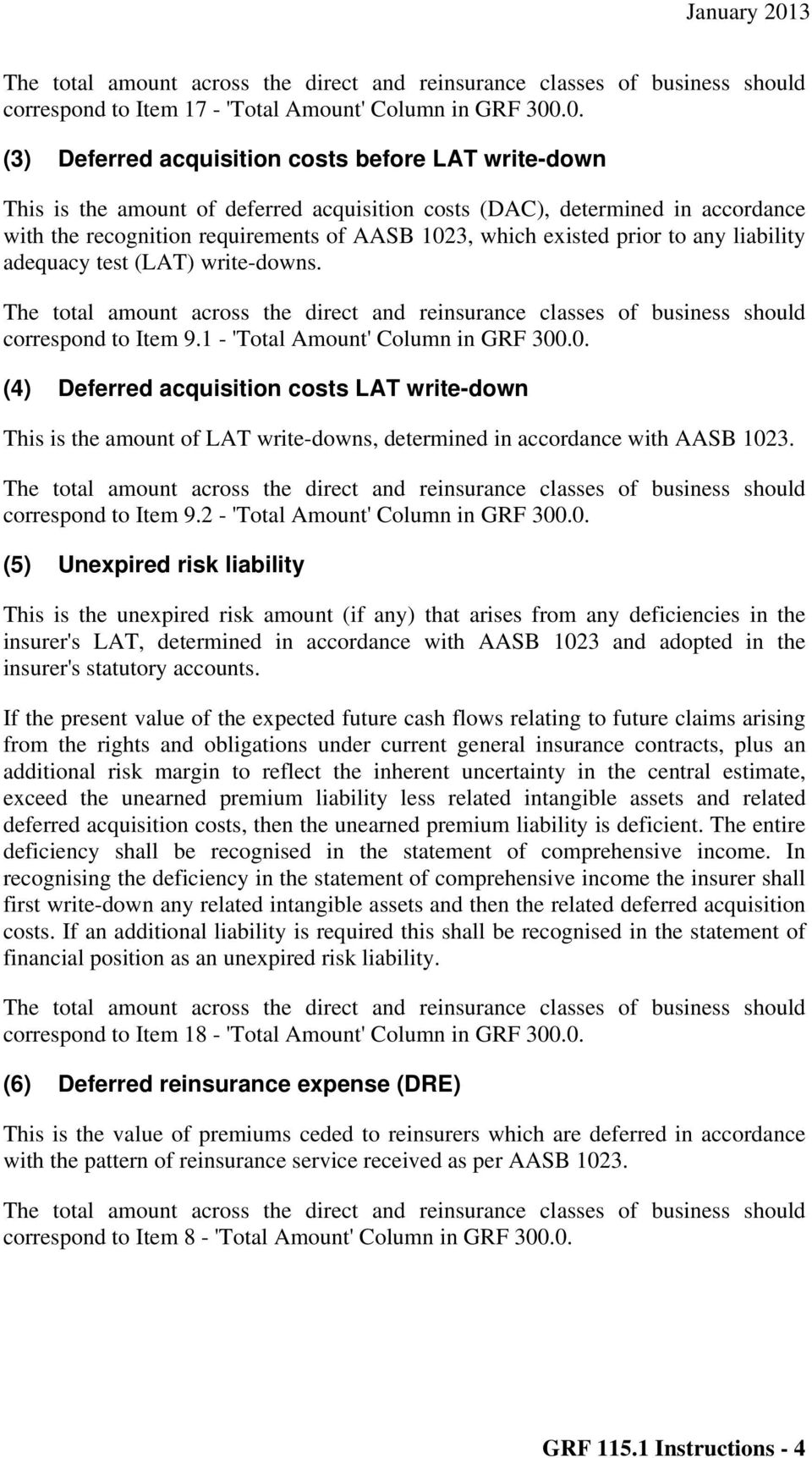 prior to any liability adequacy test (LAT) write-downs. correspond to Item 9.1 - 'Total Amount' Column in GRF 300