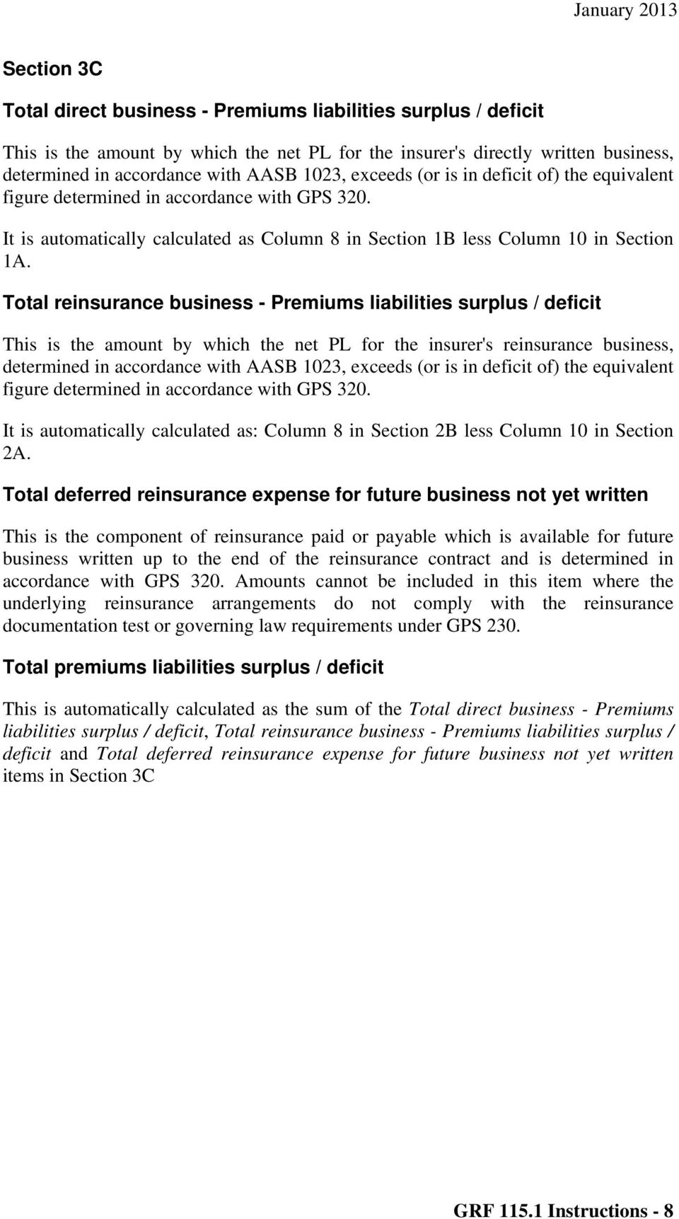 Total reinsurance business - Premiums liabilities surplus / deficit This is the amount by which the net PL for the insurer's reinsurance business, determined in accordance with AASB 1023, exceeds (or