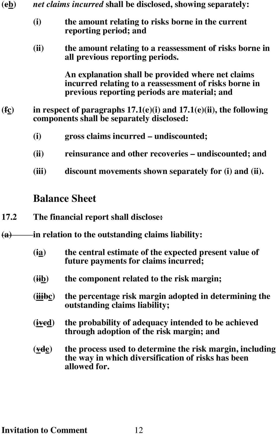 An explanation shall be provided where net claims incurred relating to a reassessment of risks borne in previous reporting periods are material; and (fc) in respect of paragraphs 17.1(e)(i) and 17.