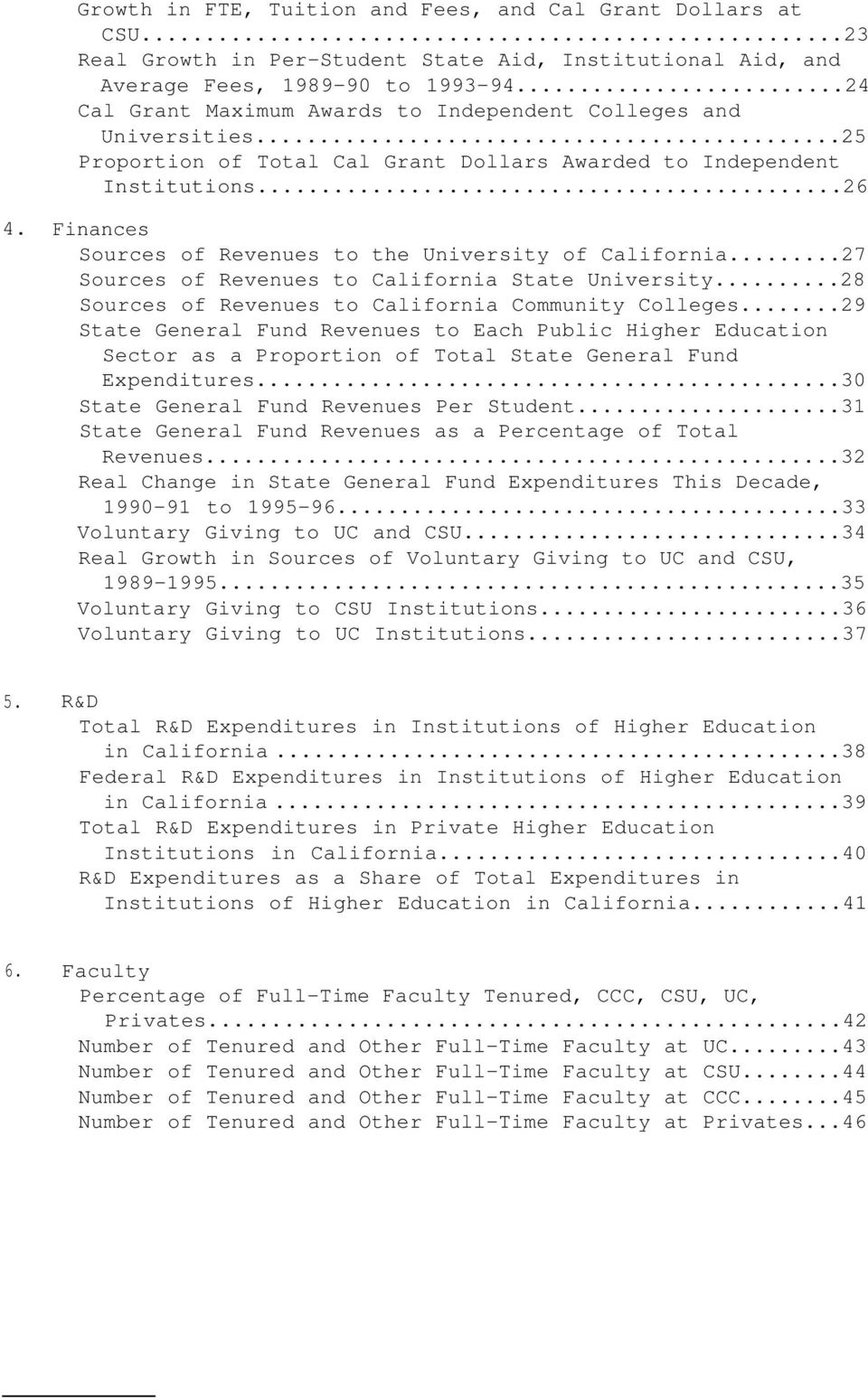Finances Sources of Revenues to the University of California...27 Sources of Revenues to California State University...28 Sources of Revenues to California Community Colleges.