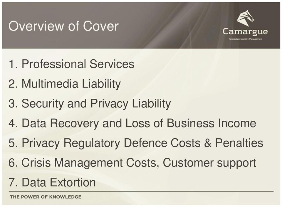 Data Recovery and Loss of Business Income 5.