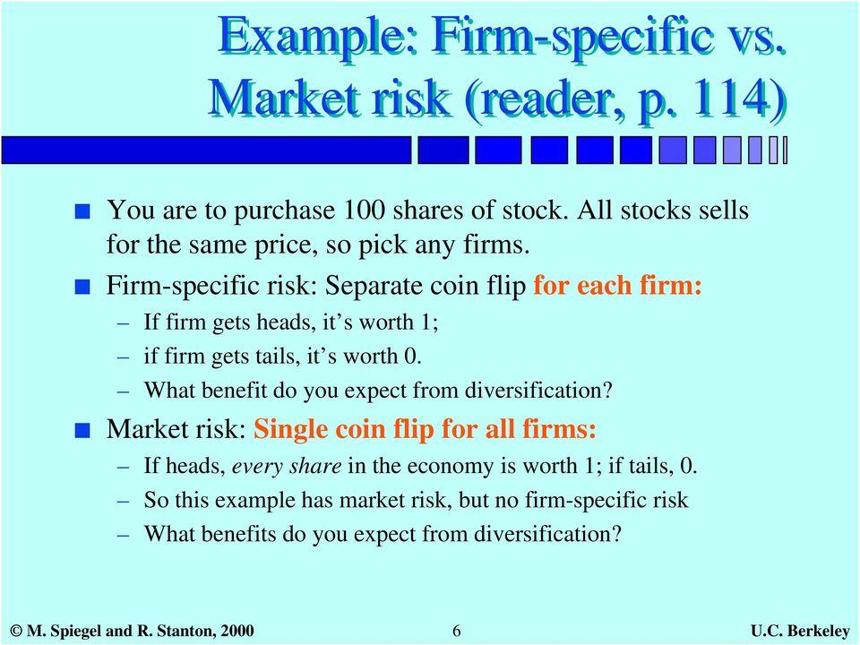 Firm-specific risk: Separate coin flip for each firm: If firm gets heads, it s worth 1; if firm gets tails, it s worth 0.