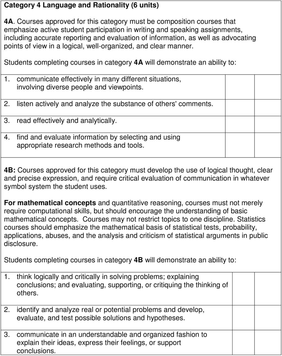 information, as well as advocating points of view in a logical, well-organized, and clear manner. Students completing courses in category 4A will demonstrate an ability to: 1.